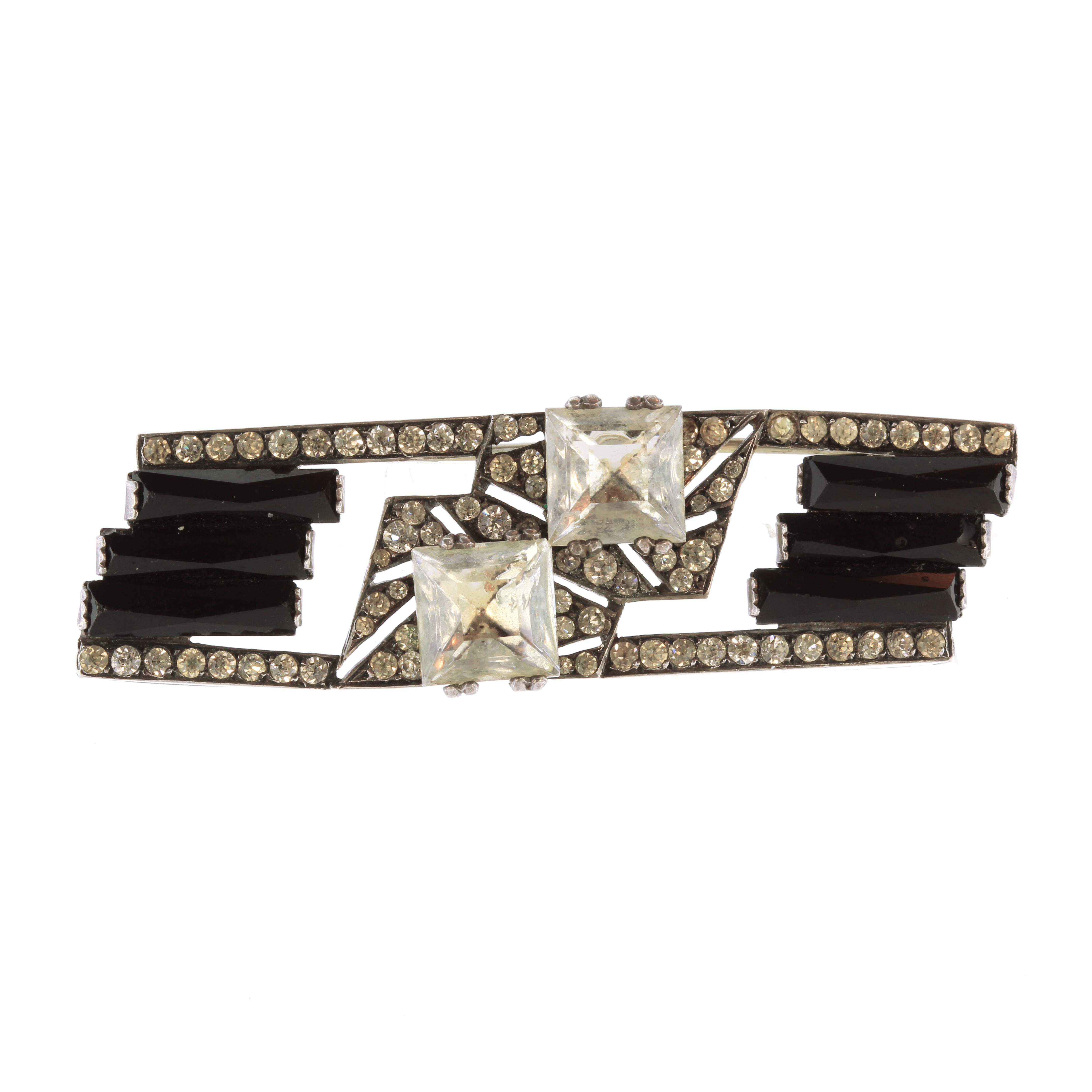Los 41 - An antique French Art Deco onyx and paste brooch in silver of rectangular form set with faceted