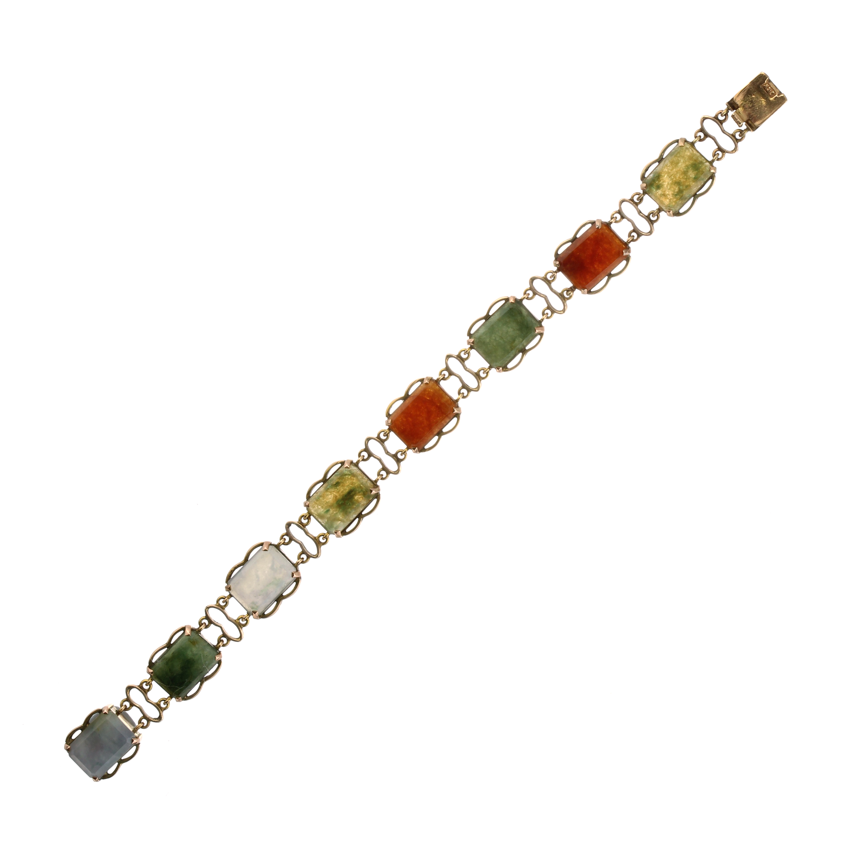 Los 12 - An antique Scottish agate bracelet in 9ct yellow gold designed as a single row of eight cut cornered