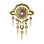 An antique Victorian ruby, diamond and pearl brooch in high carat yellow gold, in the Etruscan