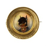 An antique Essex crystal / reverse carved intaglio dog brooch in high carat yellow gold set with a