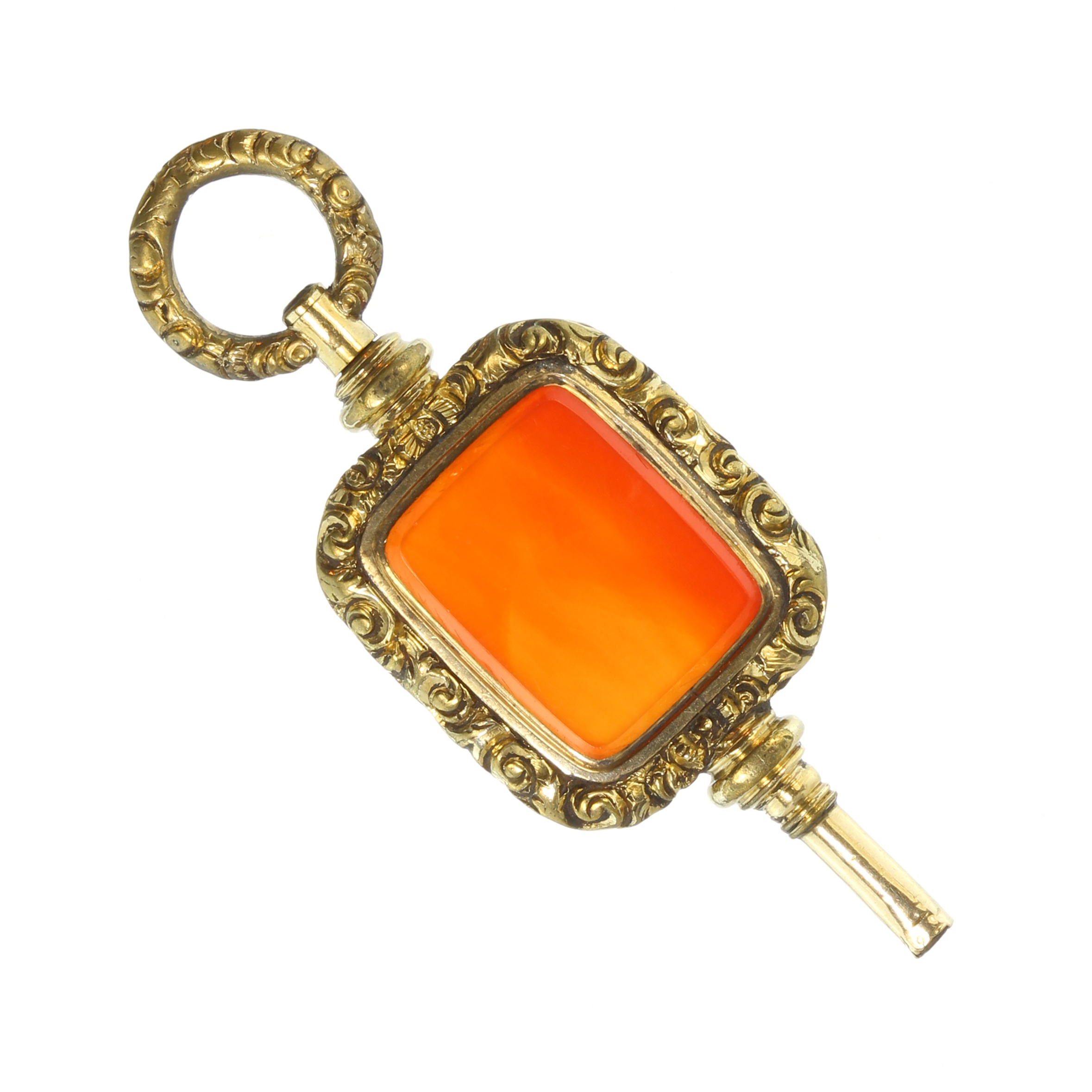 Los 43 - An antique Georgian hardstone fob seal watch key made in pinchbeck and set with a large panel of