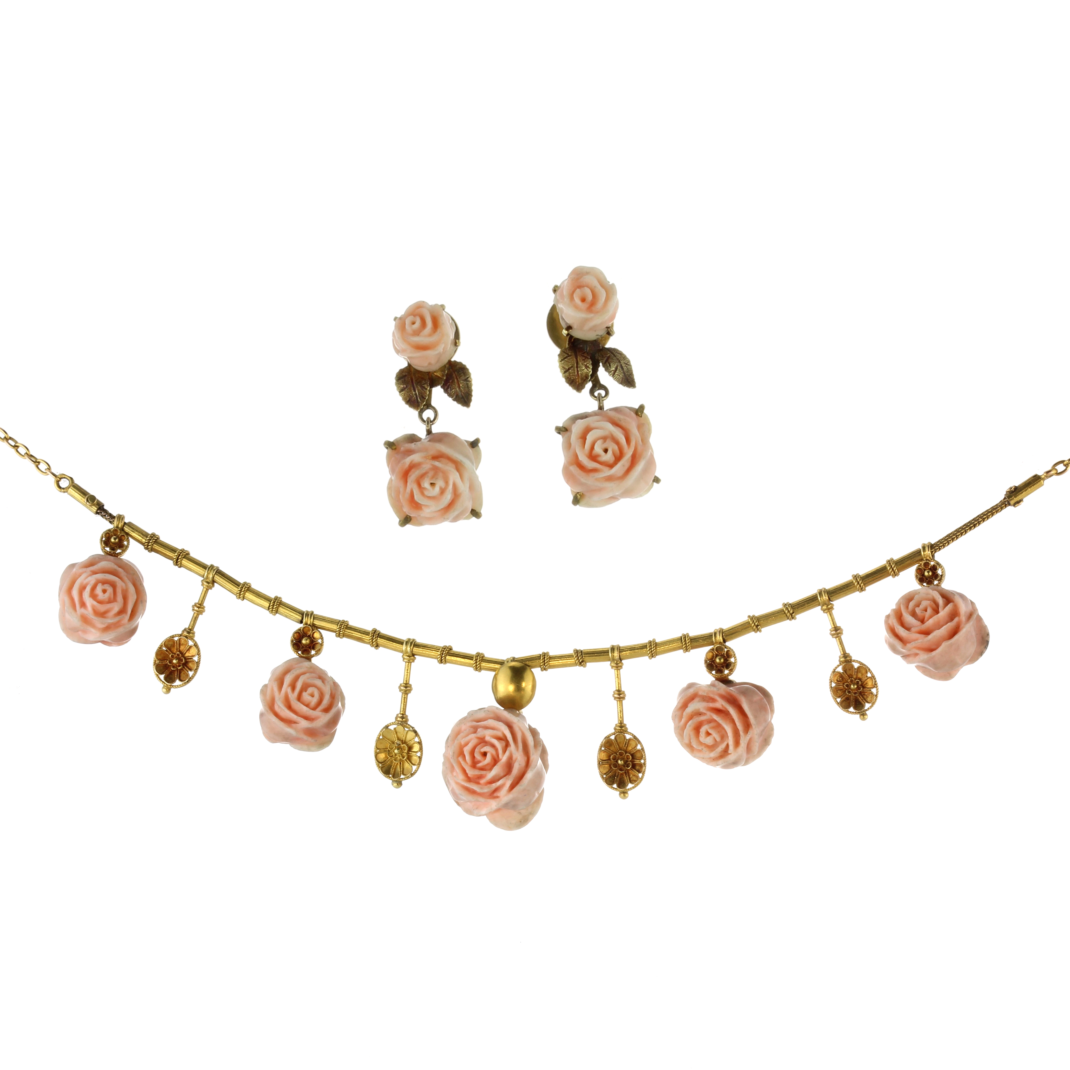 Los 1 - An antique coral rose necklace and earrings suite the necklace set with five graduated carved