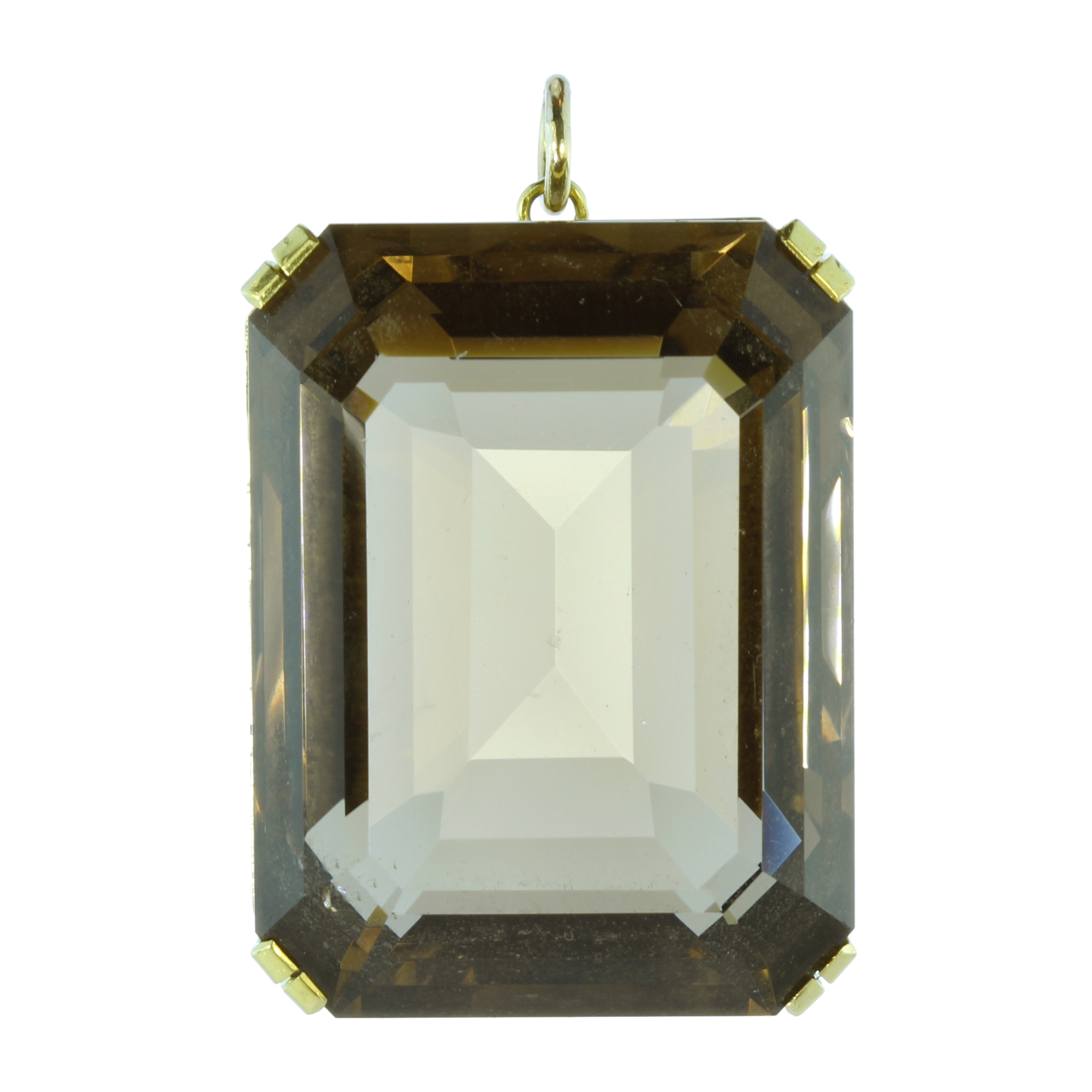 Los 13 - A large Vintage smoky quartz / cairngorm pendant in 18ct yellow gold set with a large modified