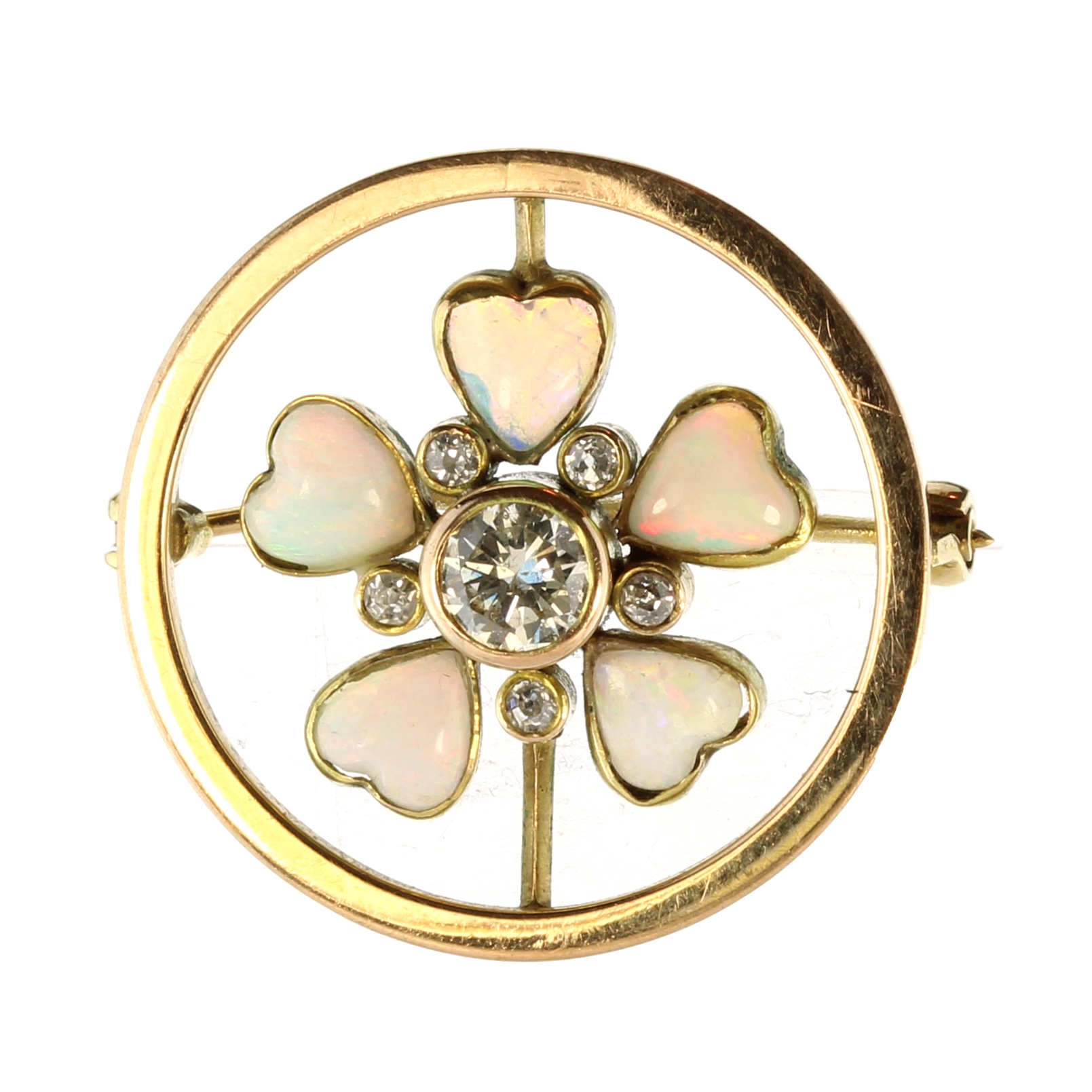Los 7 - An opal and diamond flower brooch in high carat yellow gold set with a central round cut diamond