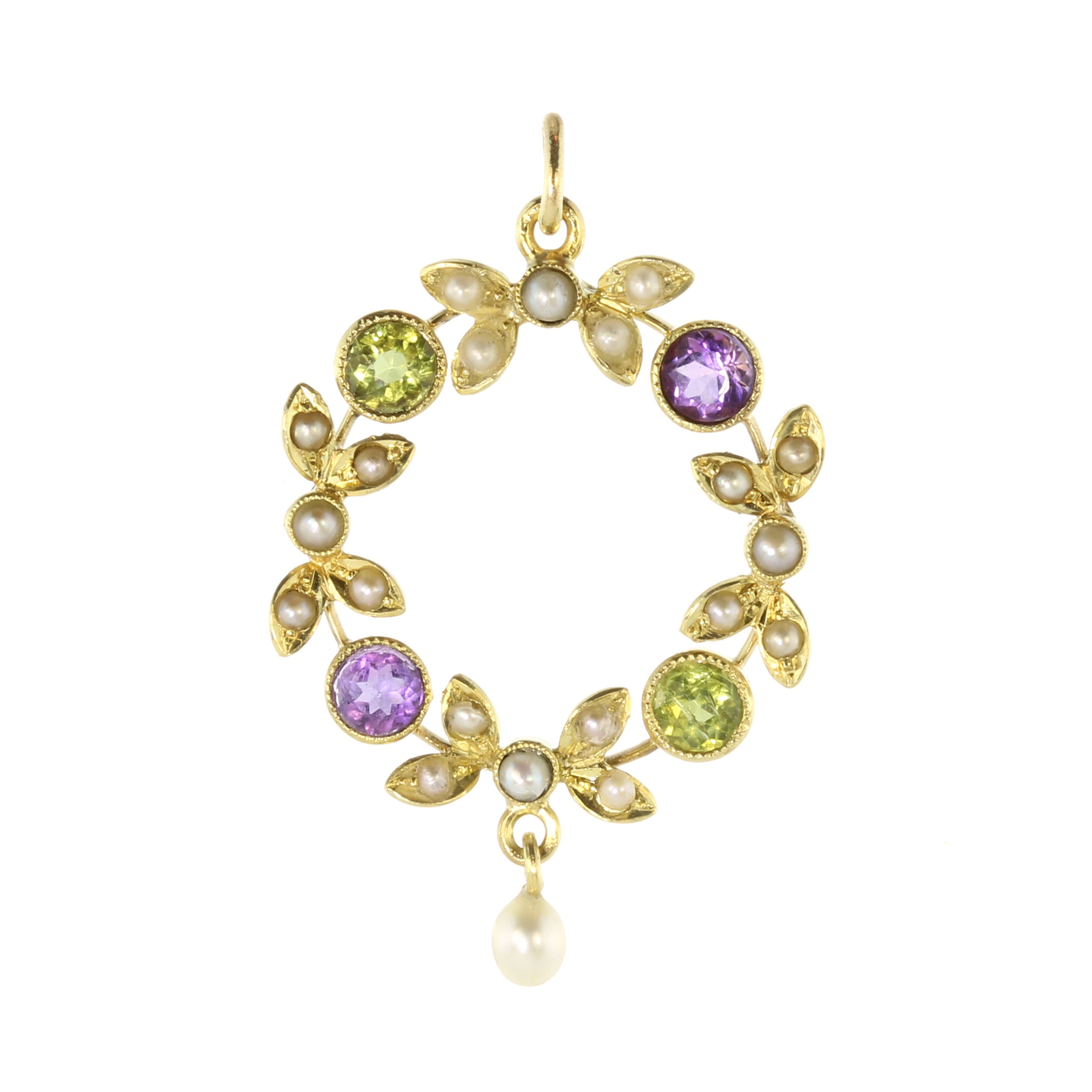 Los 8 - An early 20th Century jewelled Suffragette brooch in 15ct yellow gold (unmarked), set with round cut