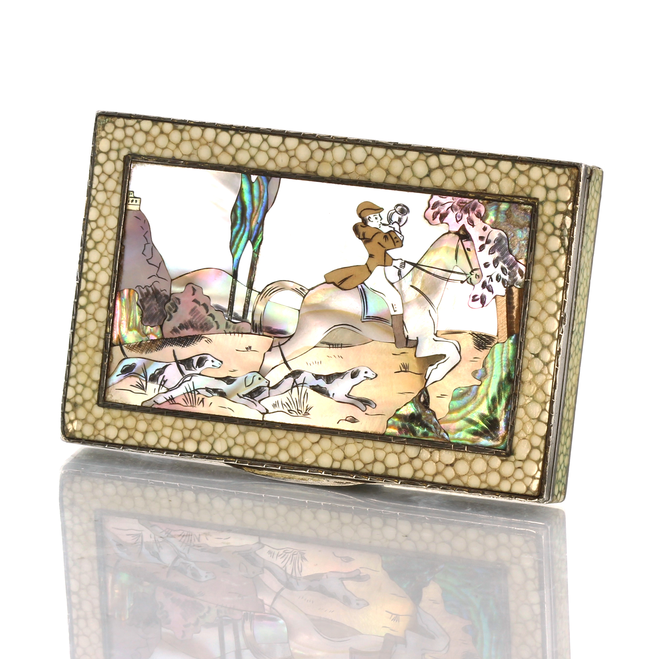 Los 117 - An antique continental shagreen, mother of pearl and abalone shell sterling silver stuff box with