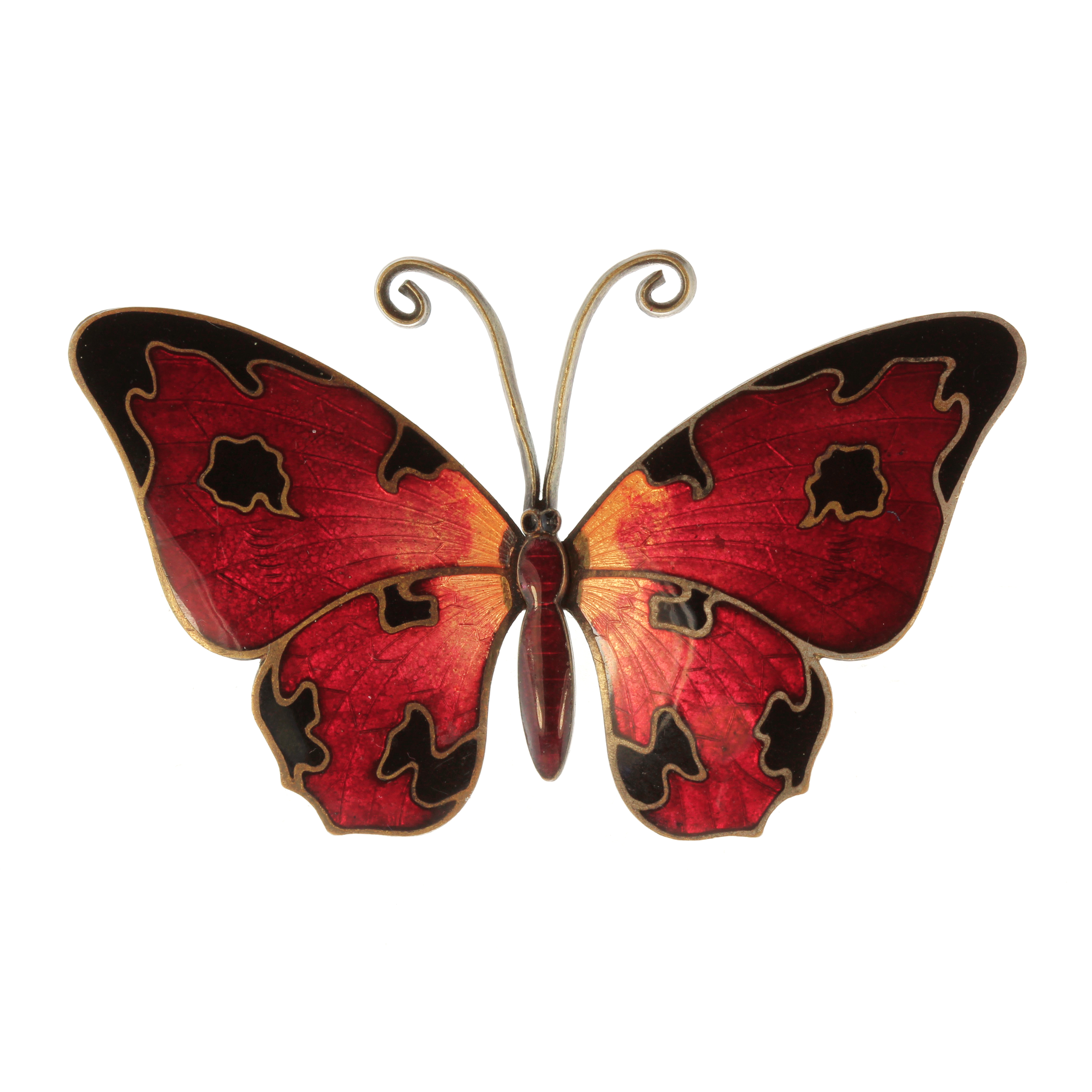 Los 21 - An antique enamel butterfly brooch the body and wings decorated in various shades of red and black