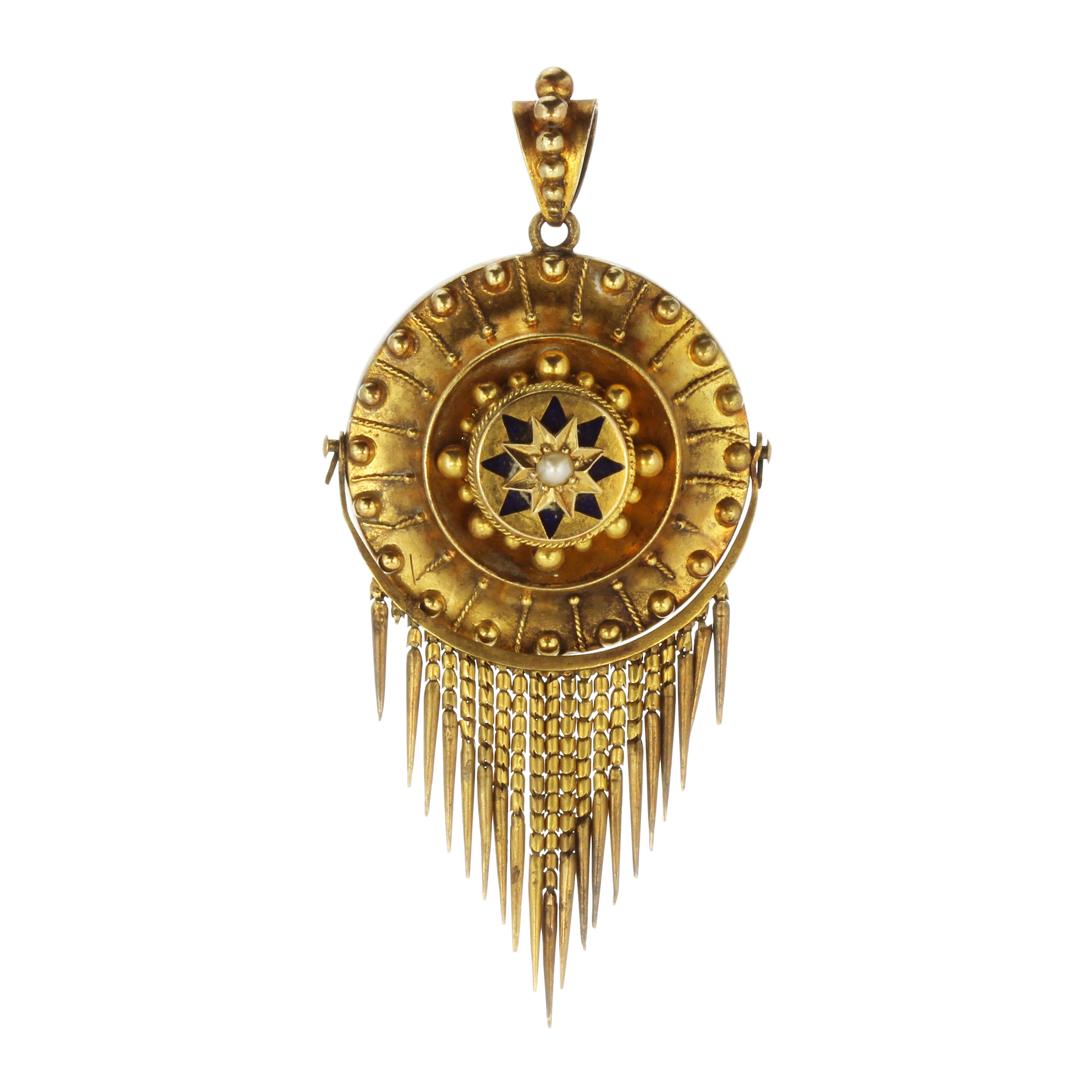 Los 51 - An antique Victorian pearl and enamel mourning pendant in high carat yellow gold in the Etruscan