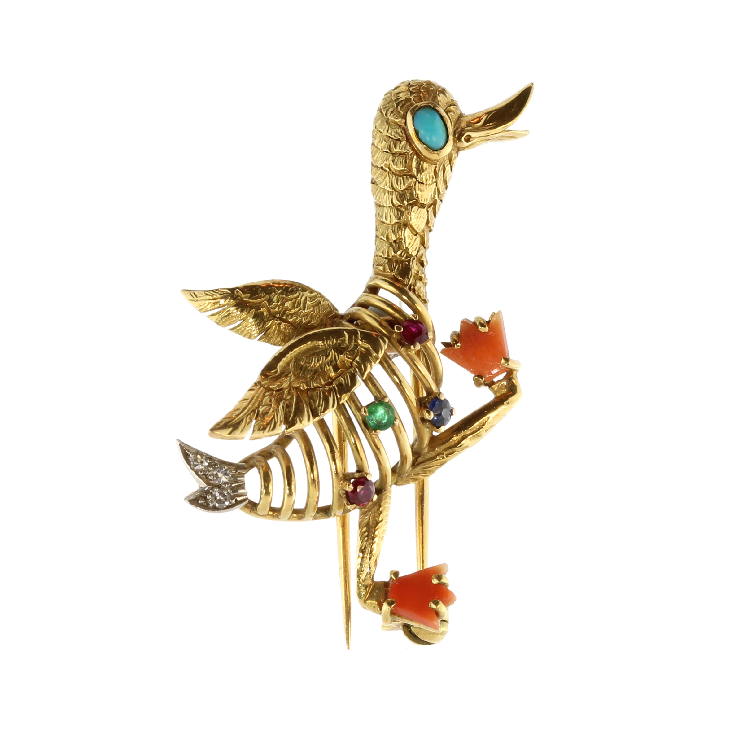 Los 24 - A vintage novelty jewelled goose brooch in 18ct yellow gold designed to depict a goose, walking in