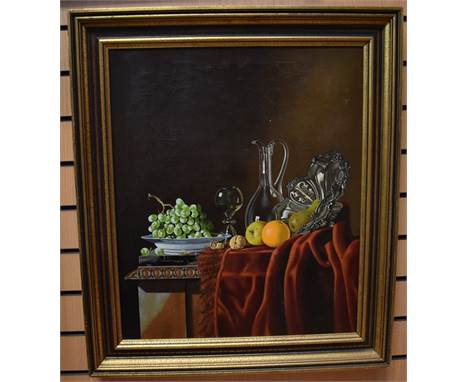 Continental School, 20th Century, still life with fruits, hock glass and carafe, oil on canvas, unsigned, 66cm x 55cm.
