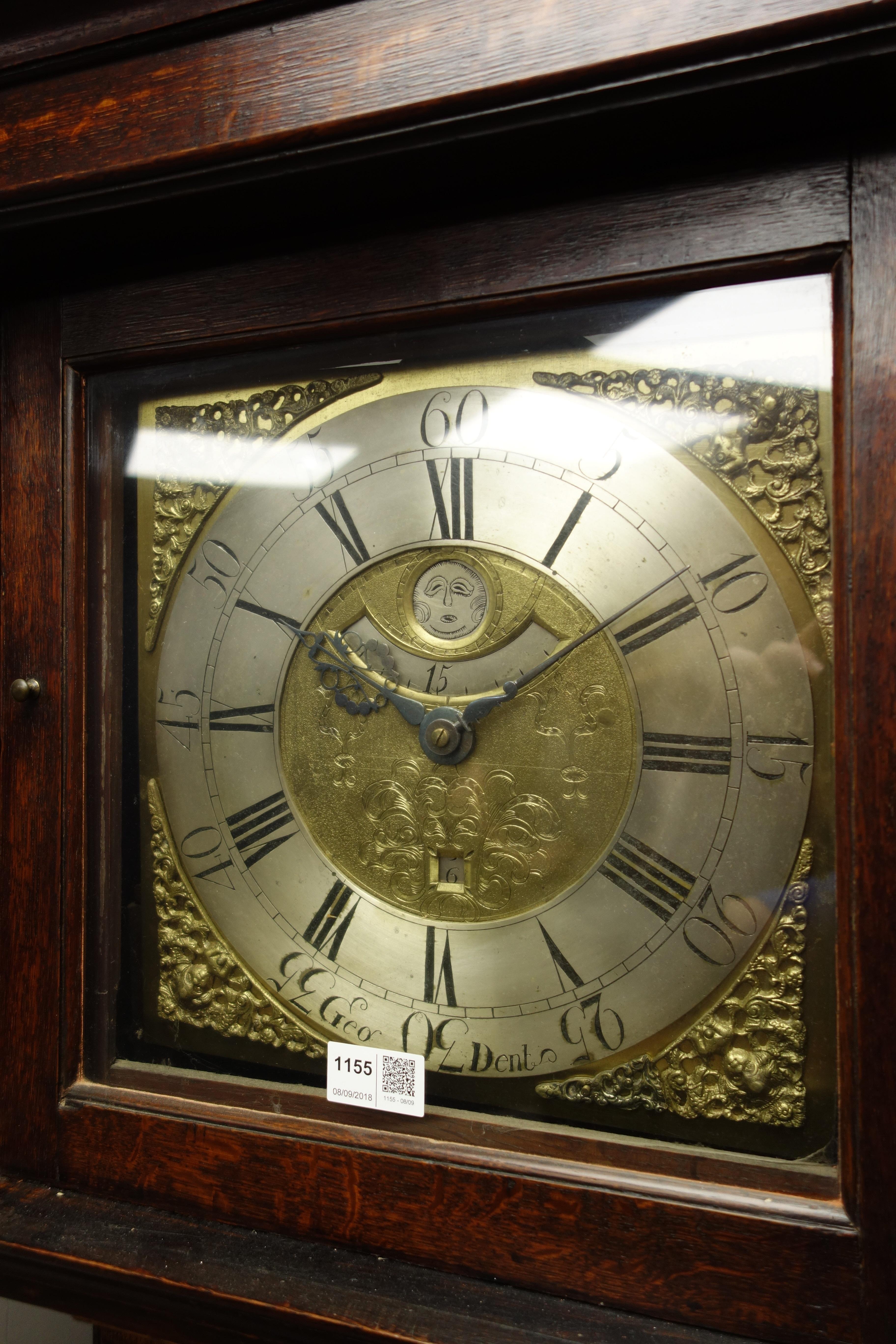 Lot 1155 - 19th century oak longcase clock, square brass dial inscribeed Geo.