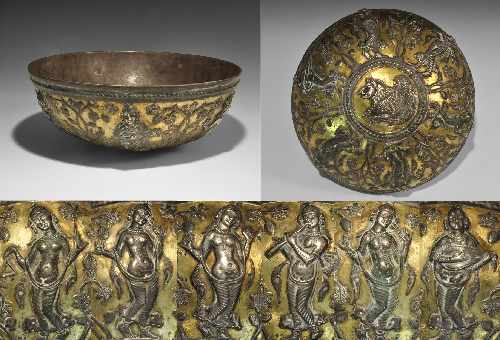 Lot 1463 - Western Asiatic Sassanian Hemispherical Bowl with Dancers