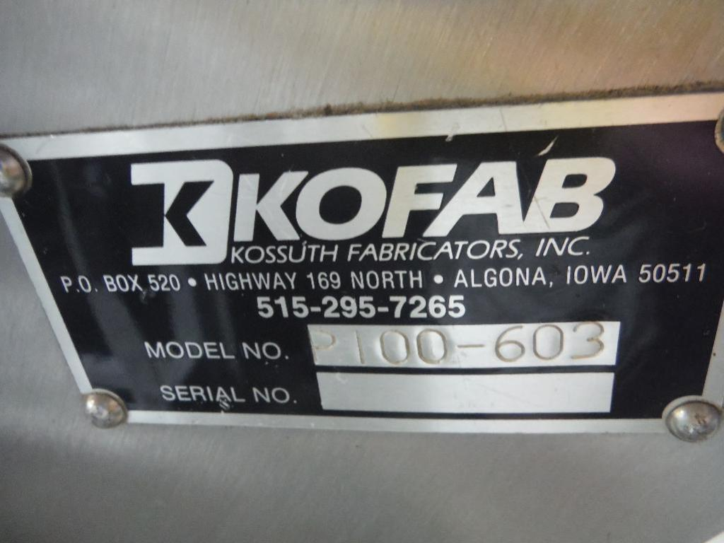 Lot 86 - Kofab 180 degree conveyor, Model 2100-603, accumulation belt, 150 in. long straight, 180 degree turn