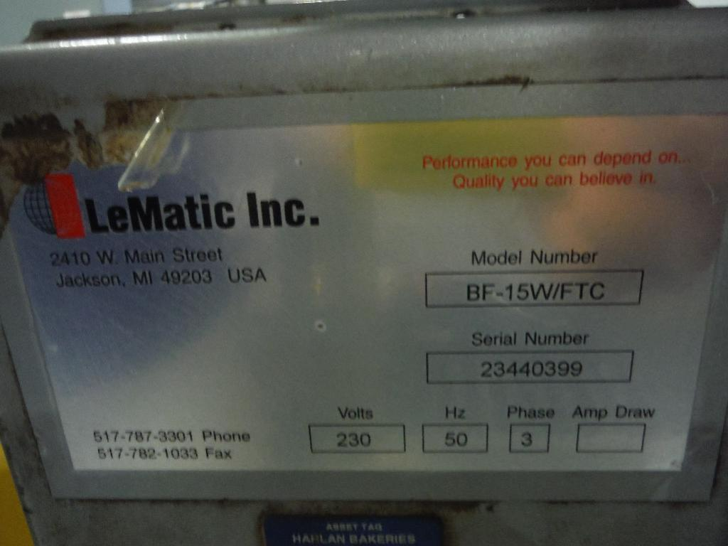 Lot 75 - LeMatic bagel hinge slicer, Model BF-15W/FTC, SN 23440399, Model GU10W-5-2, SN 23430399, 130 in. lon
