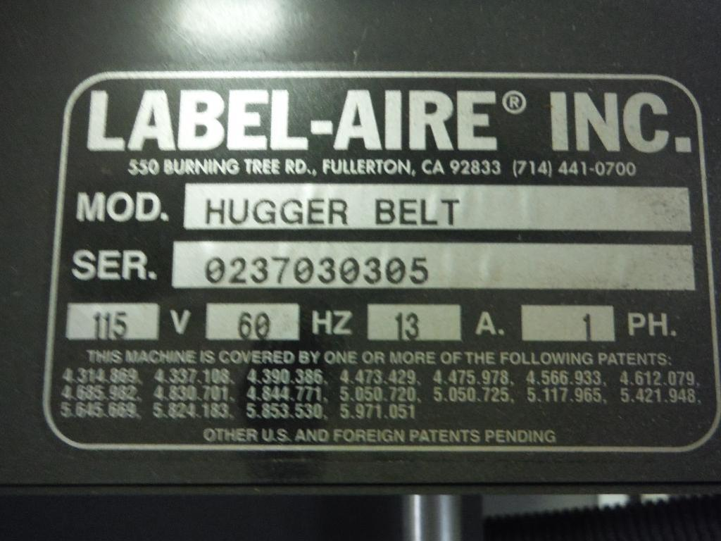 Lot 49 - Unused Label-Aire labeler, Model 3115-CD, SN 023670, adjustable cart, hugger belt conveyor and contr