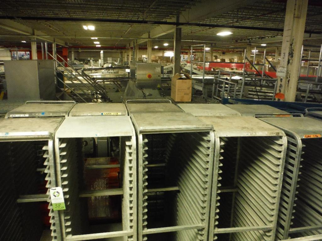 Lot 38 - Aluminum bakery rack with top, 26 in. long x 18 in. wide x 68 in. tall, 28 shelves (EACH) ** Rigging