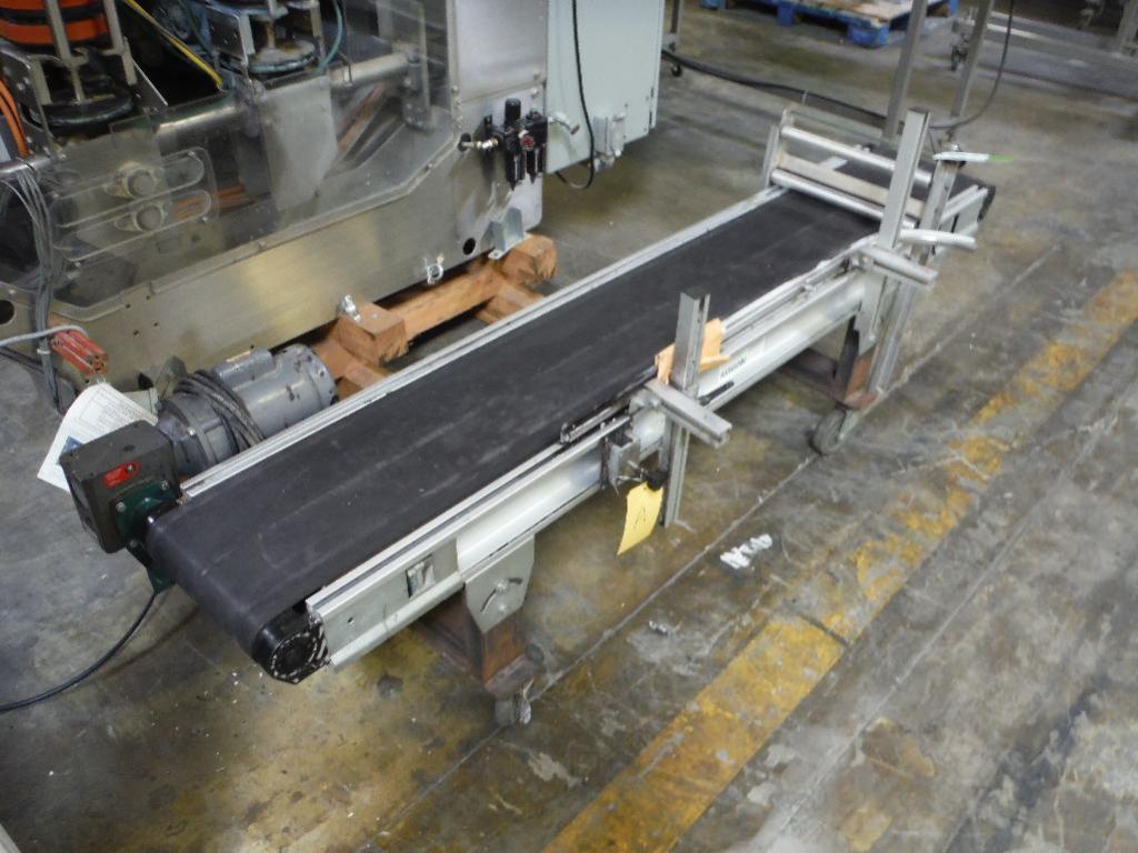 Lot 84 - Axmann aluminum conveyor, Model 4081, SN A01-1634, 84 in. long x 12 in. wide x 22 in. tall, motor an
