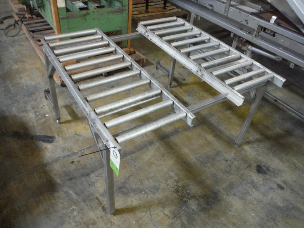 Lot 80 - 3 SS and aluminum gravity roller conveyor, missing rollers ** Rigging Fee: $75 **