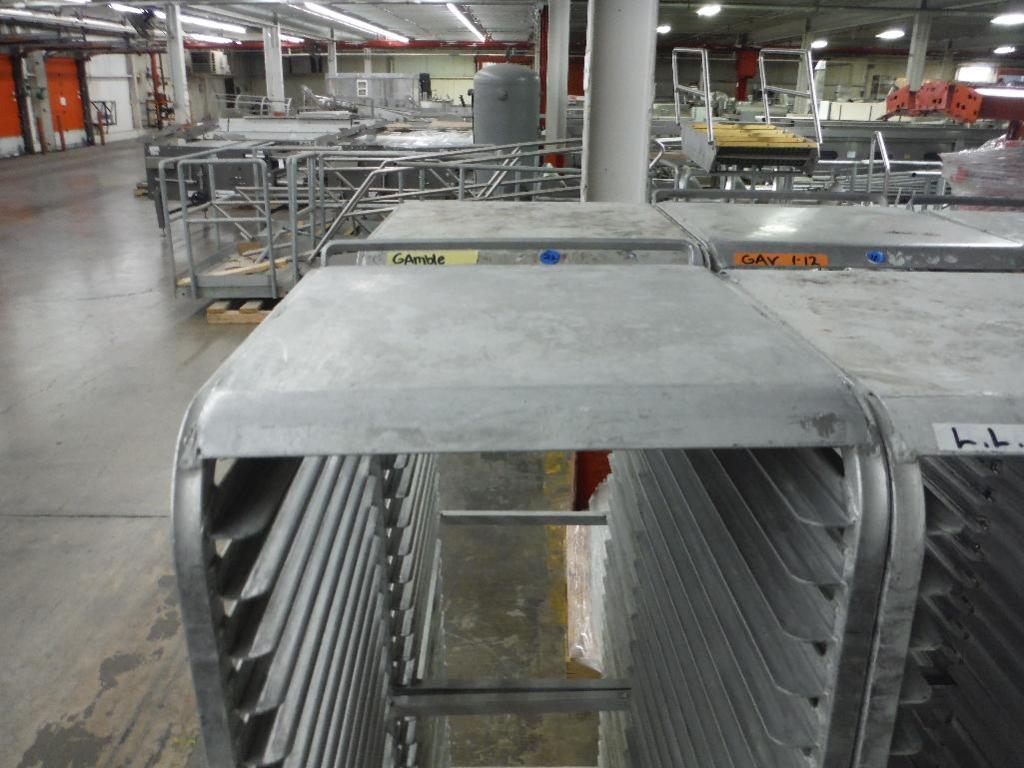 Lot 42 - Aluminum bakery rack with top, 26 in. long x 18 in. wide x 68 in. tall, 28 shelves (EACH) ** Rigging