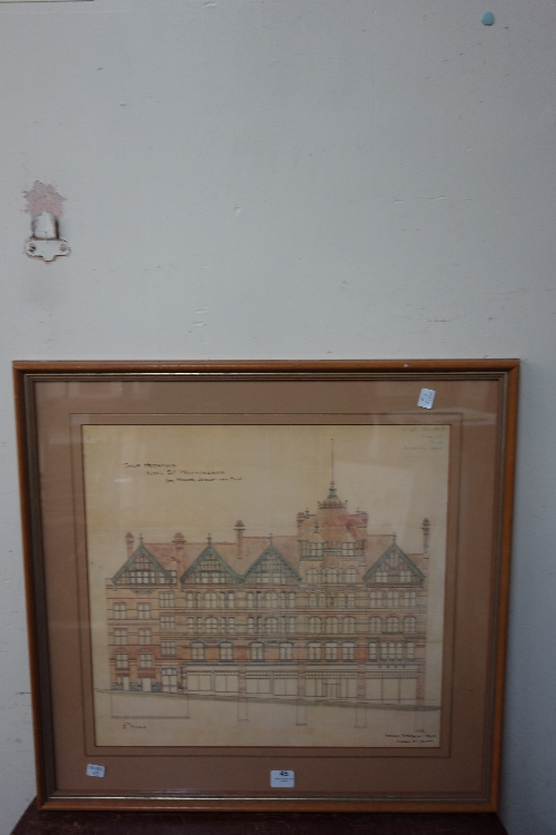 Lot 45 - A print of an architect's drawing by Watson Fothergill of shop premises for Jessop & Son on King