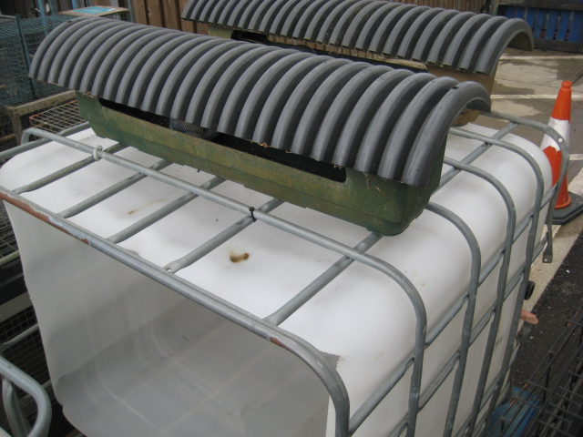 IBC water container (top cut away) together with 2 part IBC cages, etc