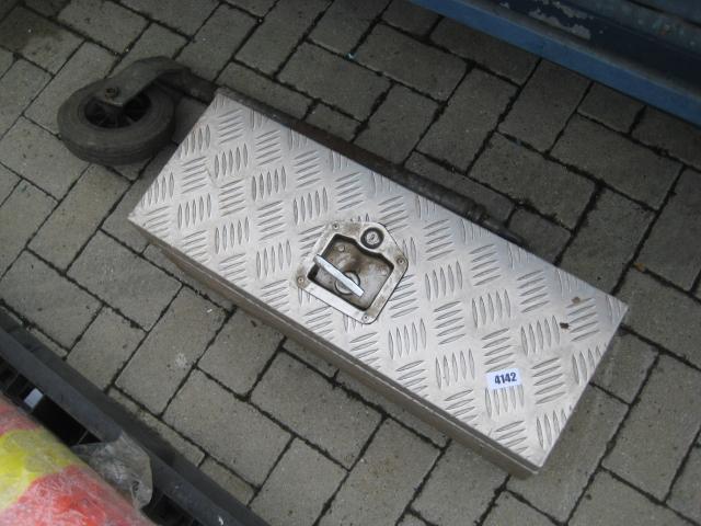 Checker plate toolbox and a jockey wheel