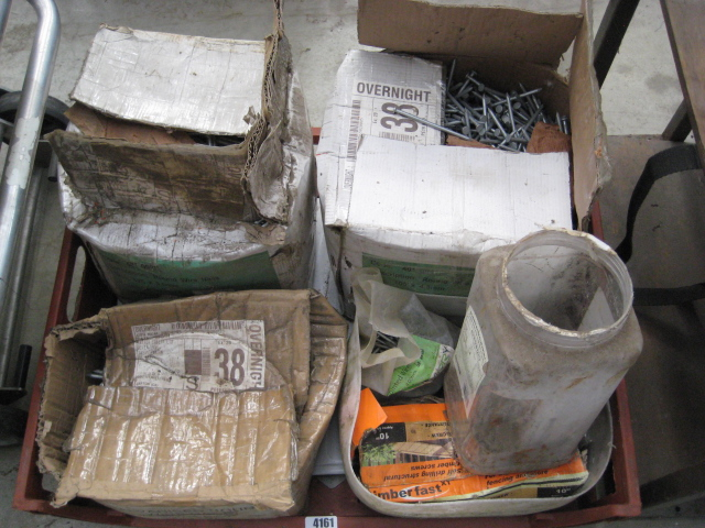 Crate of various large size galvanized nails