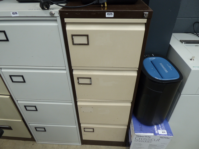 Coffee and cream metal 4 drawer filing cabinet
