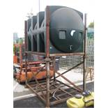 2000 litre (approx.) GRP plastic diesel tank on 2 stage metal frame with hose and dispenser gun