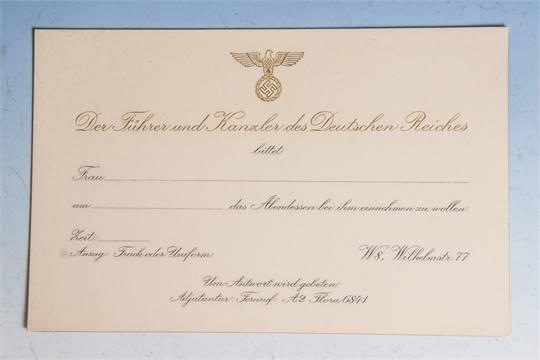 rarität, adolf hitler, orig. blanko einladungskarte, zu einem, Einladungsentwurf