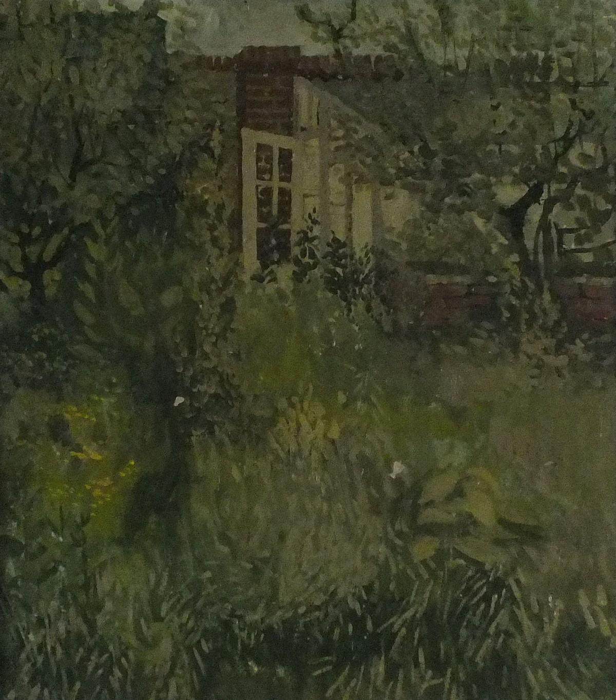 "Lot 20 - Pat ALGAR (British 1939 - 2013) 'Overgrown Garden',Oil on board, Signed & titled verso , 21.75"""