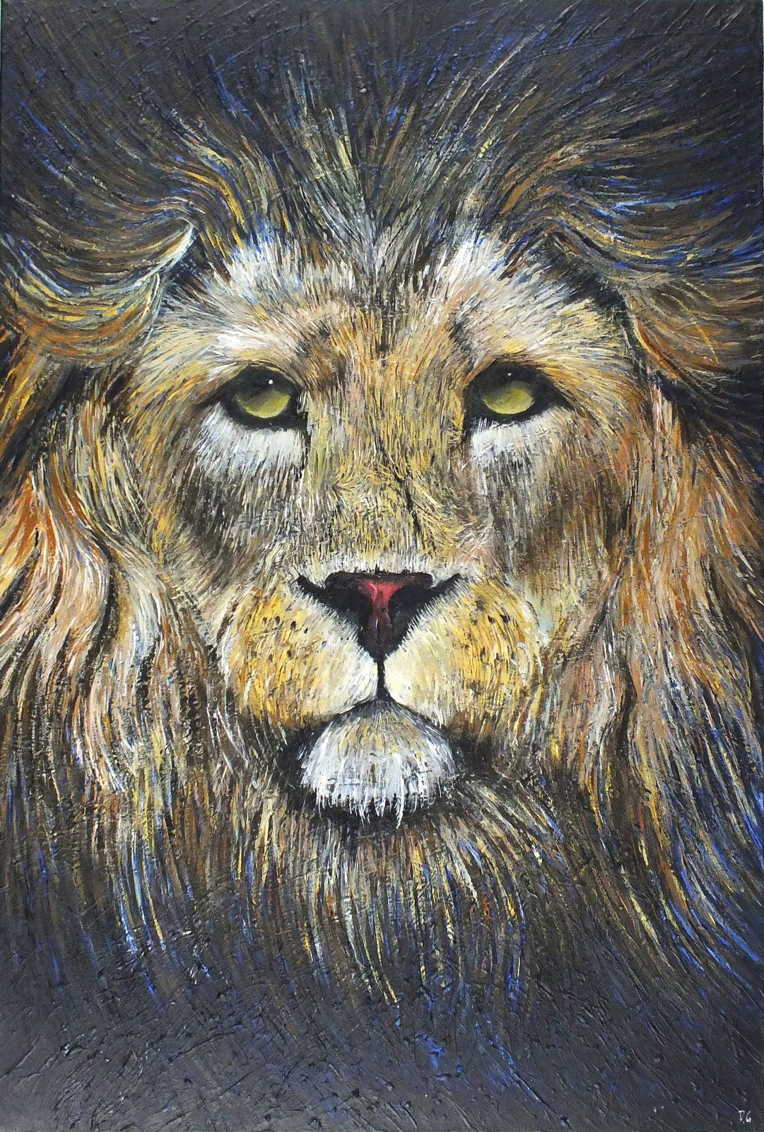 Lot 365 - Diane GRIFFITHS (British b.1981) Lion Contemplation, Acrylic on canvas, Signed with initials lower