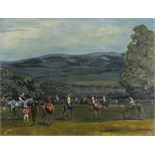 Lot 364 - 20th Century British School, 'Paddock Scene' - Racehorses and Jockeys before the Race, Oil on canvas