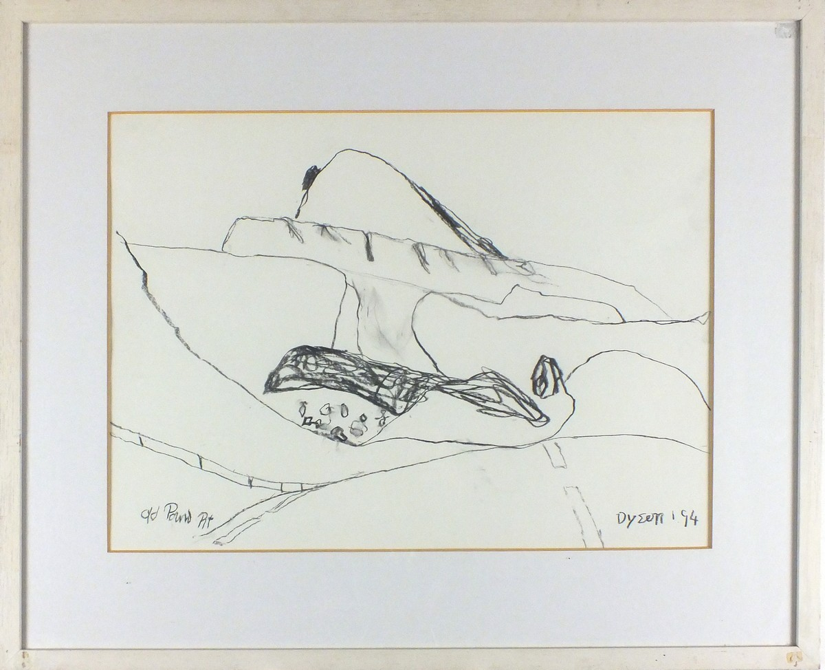 Lot 24 - Julian DYSON (British 1936-2003)'Old Pound Pit', Charcoal drawing, Signed & dated '94 lower