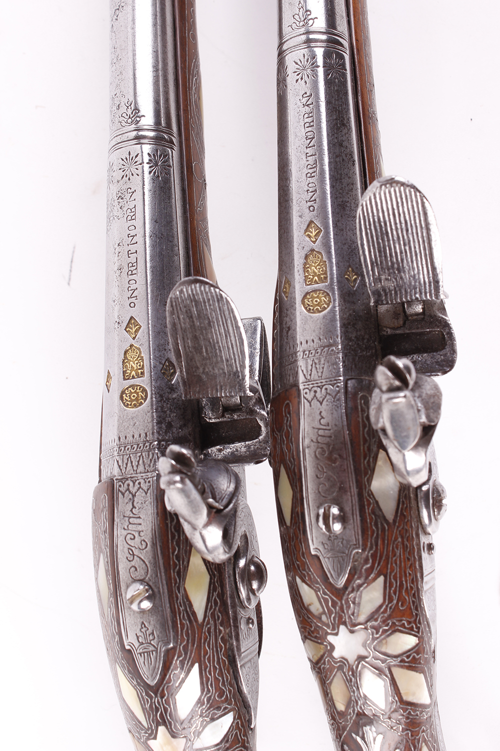 (S58) Pair of 18 bore Spanish holster pistols with 11 ins full stocked two stage barrel, engraved - Image 2 of 13