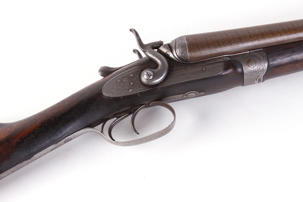 (S2) 12 bore double hammer gun by Thos Johnson c.1875-87, 30 ins brown damascus barrels, recent - Image 7 of 8