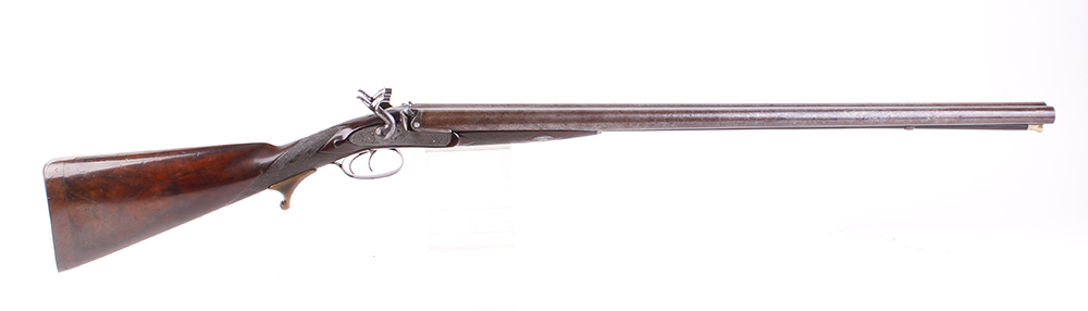 (S58) 8 bore Percussion double sporting gun by Chas Lancaster, 30 ins damascus barrels, the rib - Image 7 of 17