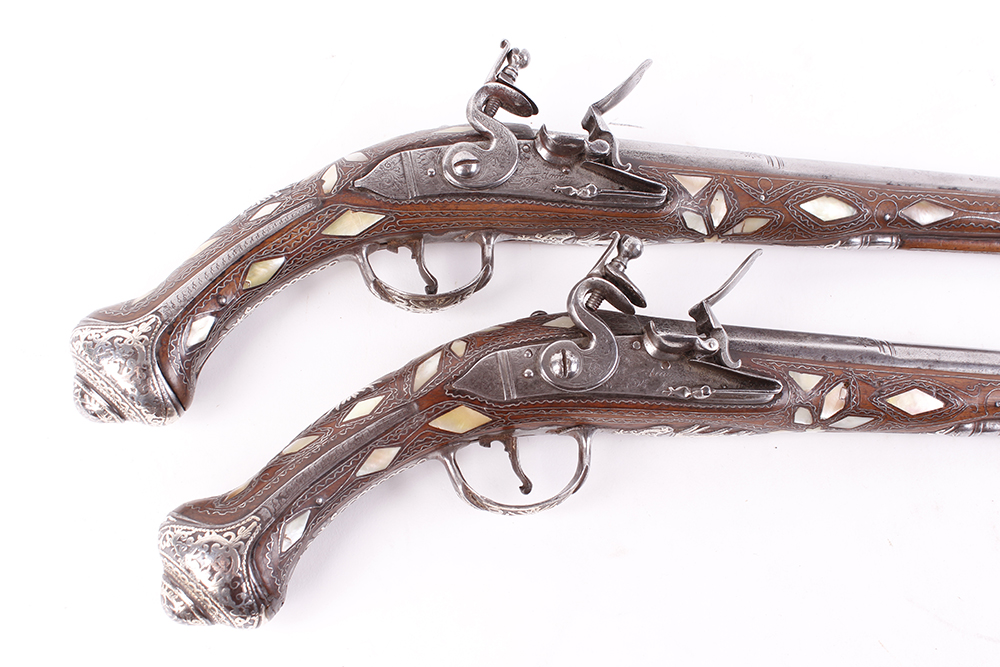 (S58) Pair of 18 bore Spanish holster pistols with 11 ins full stocked two stage barrel, engraved - Image 4 of 13