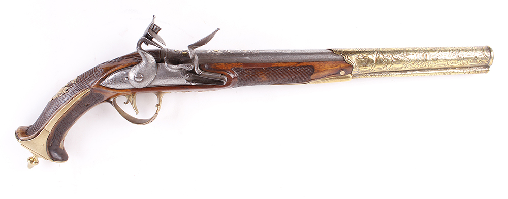 (S58) 18 bore Italian flintlock holster pistol, 14 ins barrel decorated with embossed swags, stand - Image 2 of 5