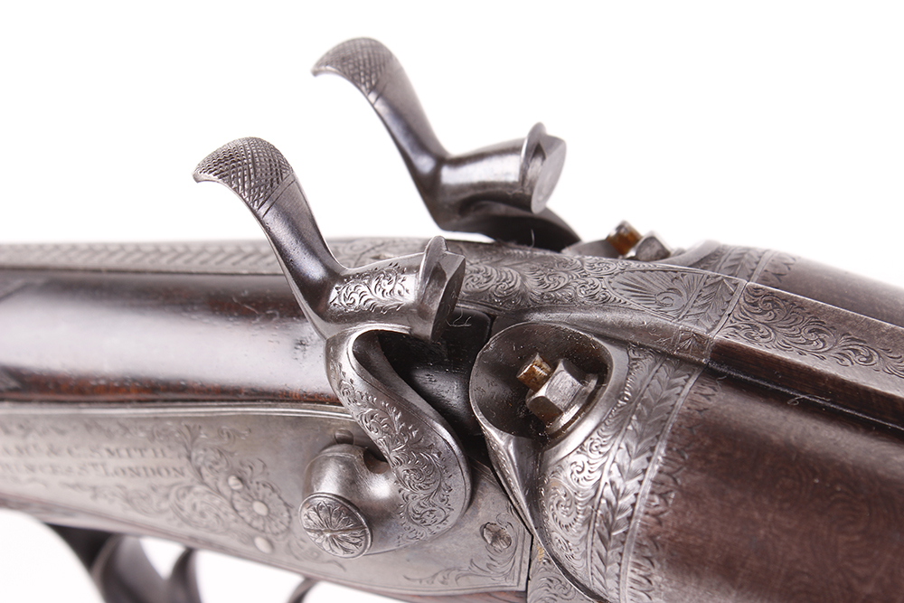 (S2) 12 bore hammer by S & C Smith, 30 ins damascus barrels with broad rib inscribed Saml & C - Image 9 of 12
