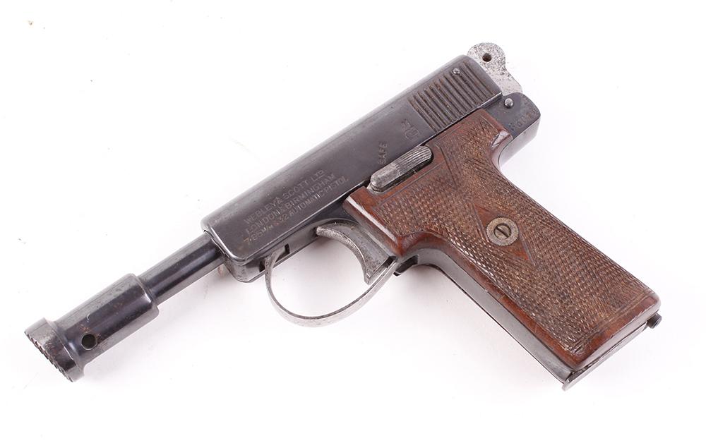 (S5-SF39) 7.62mm (.32) Webley & Scott semi automatic humane dispatch pistol, multi shot magazine,