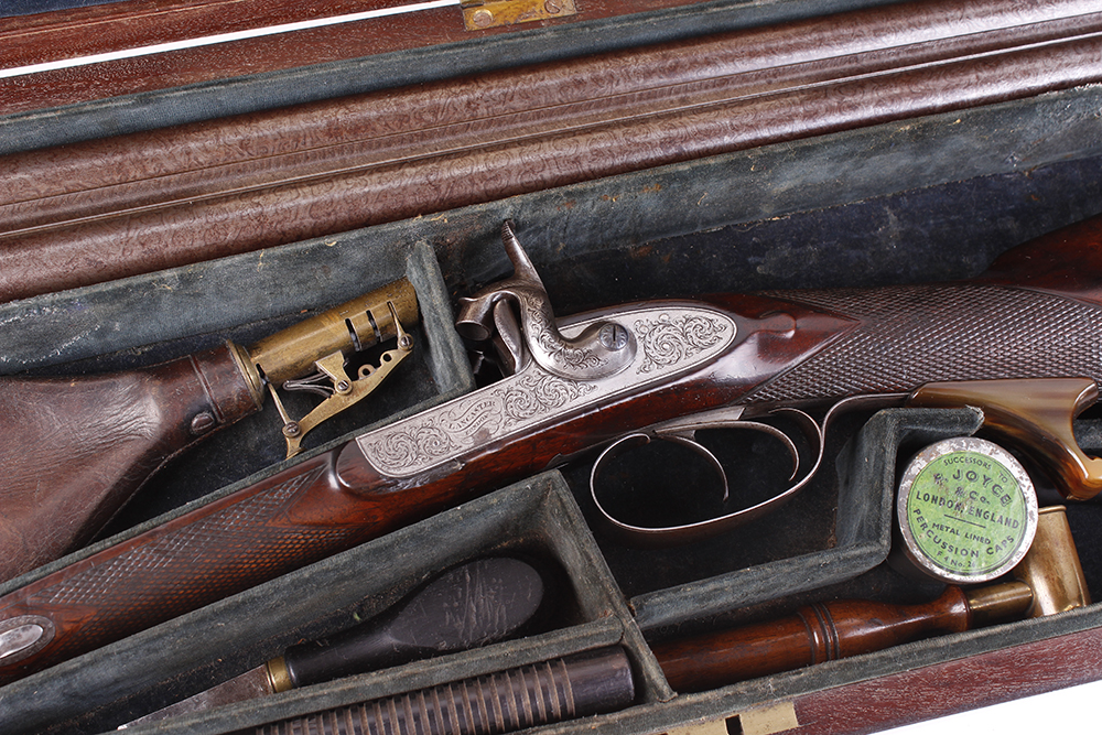 (S58) 8 bore Percussion double sporting gun by Chas Lancaster, 30 ins damascus barrels, the rib - Image 2 of 17
