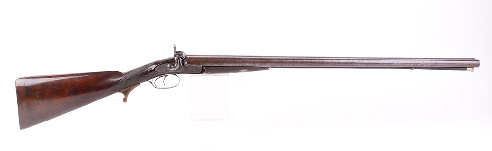 (S58) 8 bore Percussion double sporting gun by Chas Lancaster, 30 ins damascus barrels, the rib - Image 8 of 17