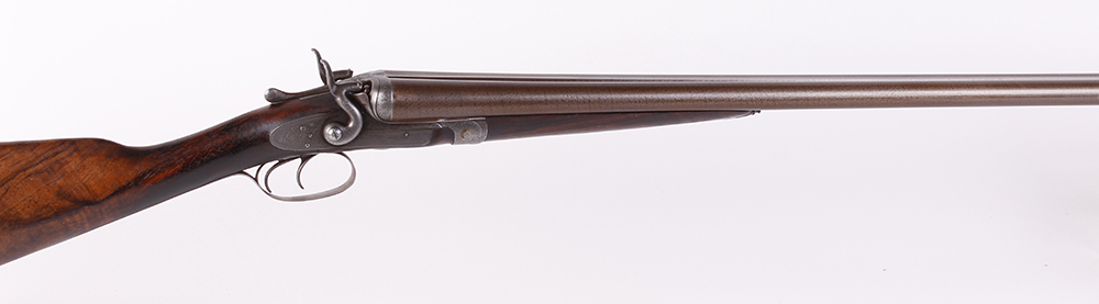 (S2) 12 bore double hammer gun by Thos Johnson c.1875-87, 30 ins brown damascus barrels, recent - Image 2 of 8