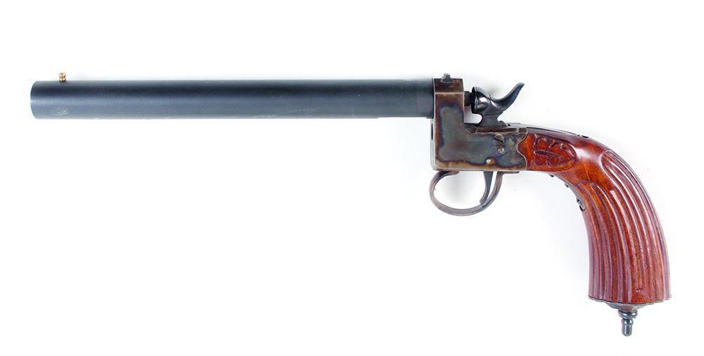 Lot 882 - (S1) .36 Pedersoli black powder percussion pistol, 8 ins matt black sighted steel barrel, plain