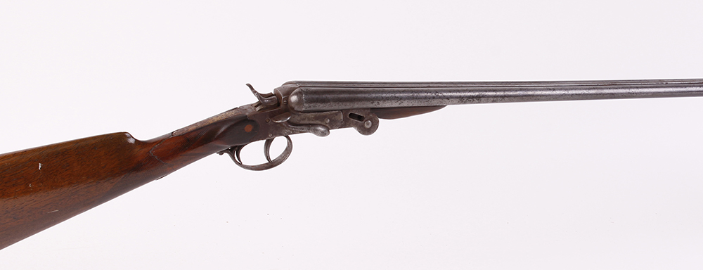 (S2) .410 Belgian double semi hammer, 26 ins barrels, folding side lever action, 14 ins straight
