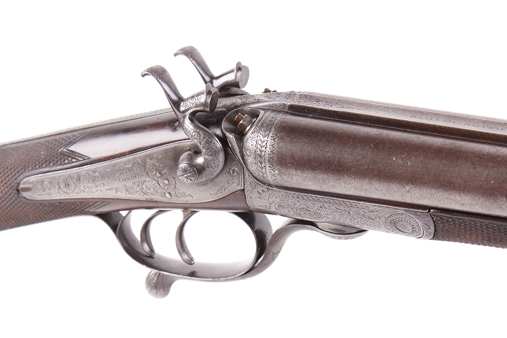(S2) 12 bore hammer by S & C Smith, 30 ins damascus barrels with broad rib inscribed Saml & C - Image 8 of 12