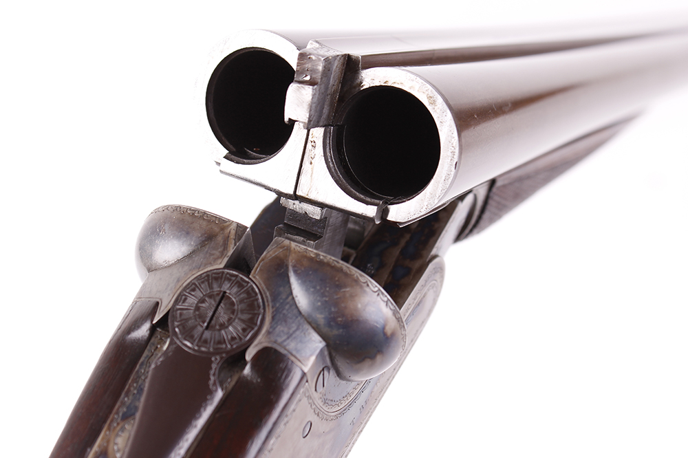 (S2) 12 bore sidelock ejector by Thomas Bland & Sons, 28 ins brown damascus barrels (recent nitro - Image 6 of 7