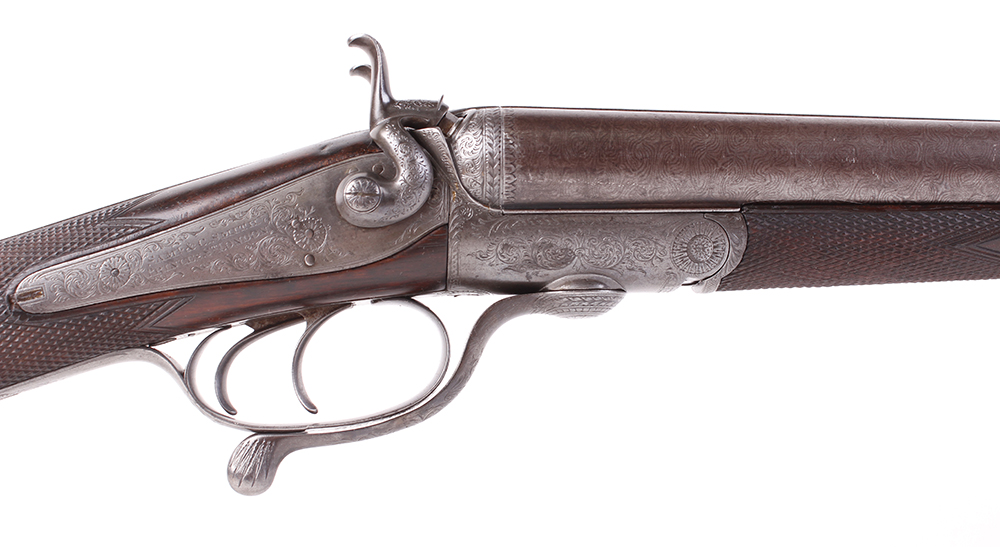 (S2) 12 bore hammer by S & C Smith, 30 ins damascus barrels with broad rib inscribed Saml & C