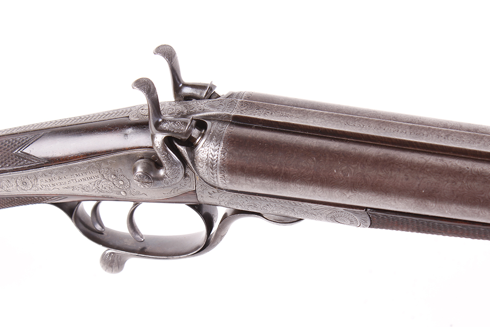 (S2) 12 bore hammer by S & C Smith, 30 ins damascus barrels with broad rib inscribed Saml & C - Image 11 of 12